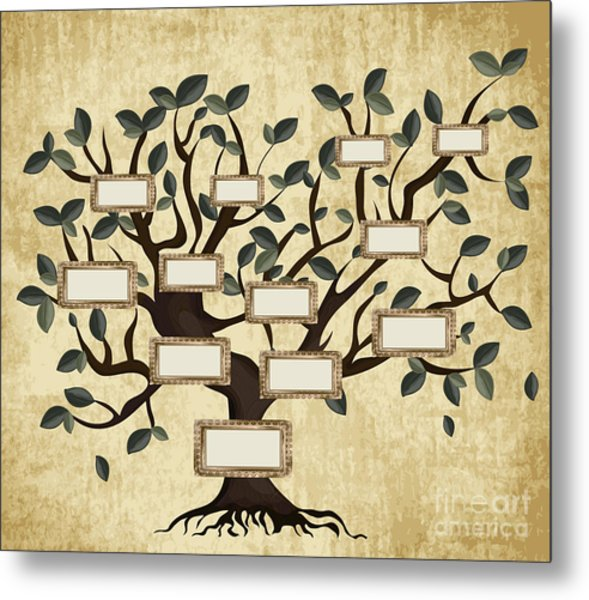 Illustration Of Family Tree On Aged Metal Print