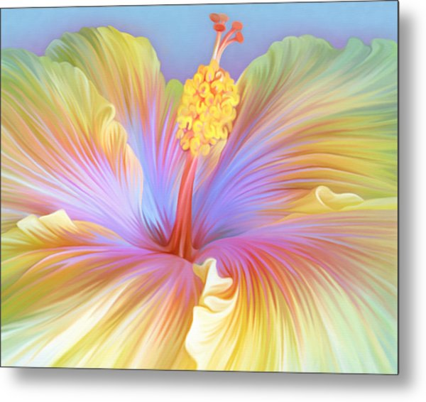 Illustration Of Hibiscus Flower Metal Print by Illustration By Shannon Posedenti