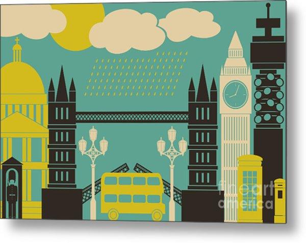 Illustration Of London Symbols And Metal Print by Iveta Angelova