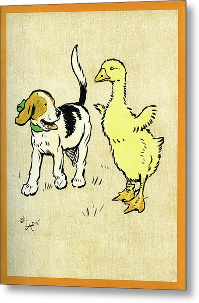 Illustration Of Puppy And Gosling Metal Print