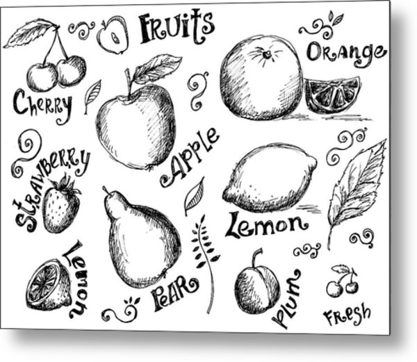 Illustrations Of Various Fruits And Metal Print by Kalistratova