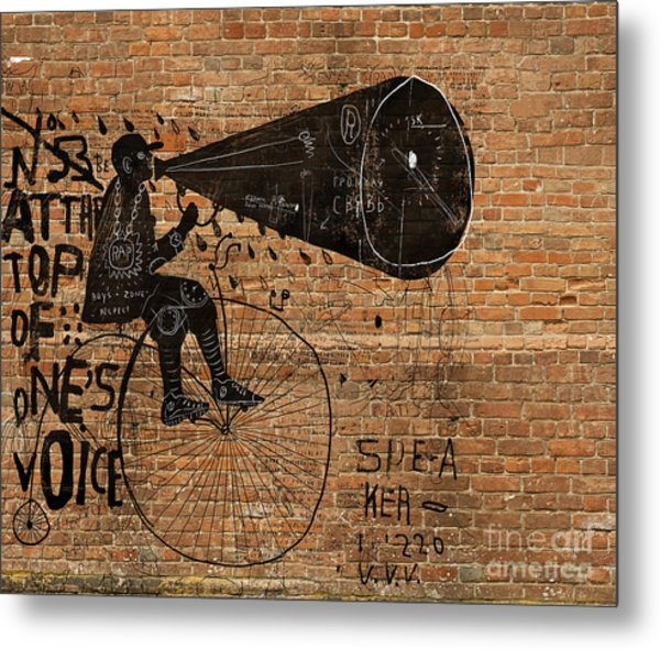 Image Of A Man Who Rides A Bike And Metal Print