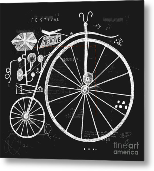 Image Of An Old Bicycle With A Large Metal Print