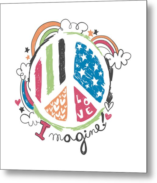 Imagine Love And Peace - Baby Room Nursery Art Poster Print Metal Print