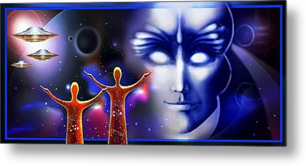 Metal Print featuring the painting Imagine - What Is Out  There by Hartmut Jager