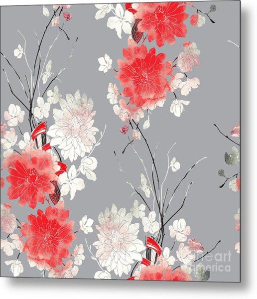 Imprints Sakura And Chrysanthemum. Hand Metal Print