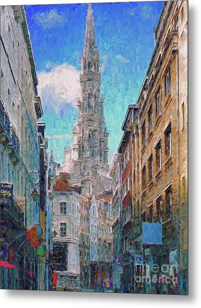 Metal Print featuring the photograph In-spired  Street Scene Brussels by Leigh Kemp