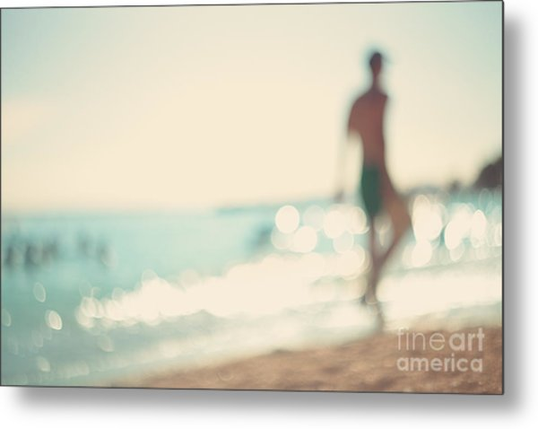 In The Summer Vacation.silhouette Of A Metal Print