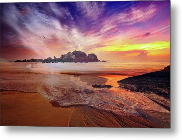 Incoming Tide At Sunset Metal Print
