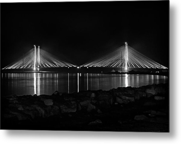 Indian River Bridge After Dark In Black And White Metal Print