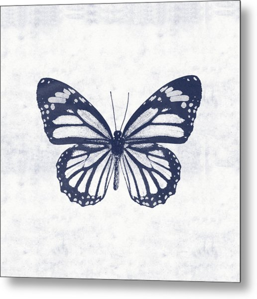 Indigo And White Butterfly 3- Art By Linda Woods Metal Print