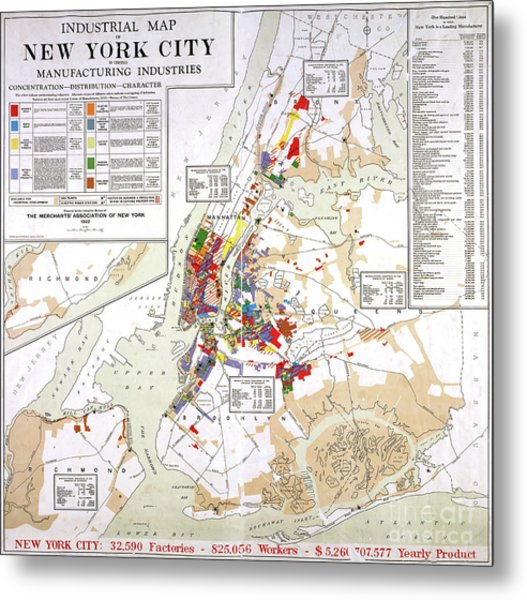 Industrial Map Of New York City, 1922 Metal Print