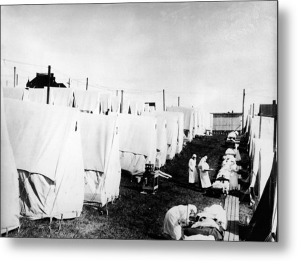 Influenza Epidemic Tent Hospital Camp Metal Print by Hulton Archive