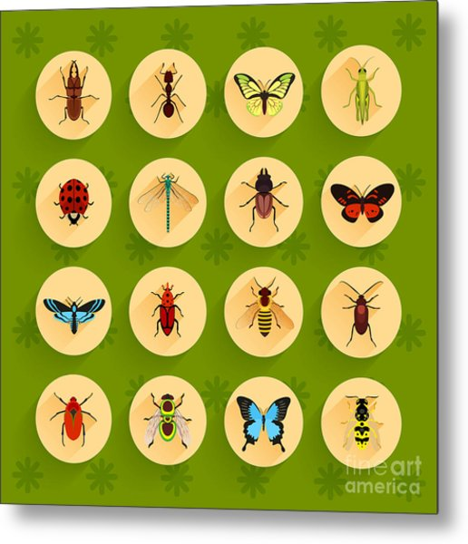 Insects Round Button Flat Icons Set Metal Print
