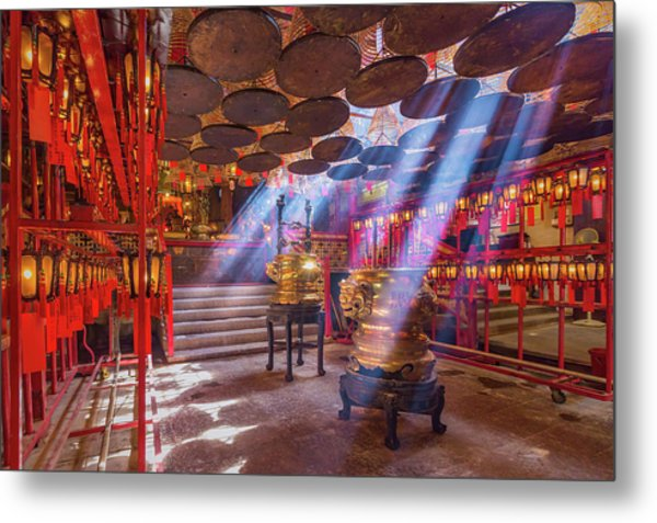 Inside The Man Mo Temple,hong Kong Metal Print by Photography By Sanchai Loongroong