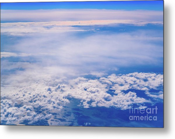 Intense Blue Sky With White Clouds And Plane Crossing It, Seen From Above In Another Plane. Metal Print