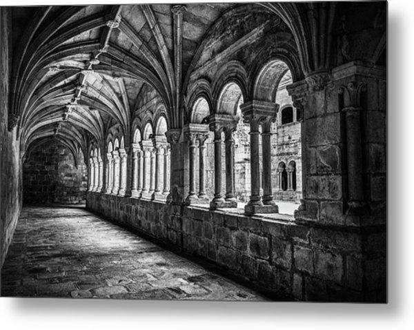 Interior Corridors Of The Monastery Of Santo Estevo De Ribas Del Sil Metal Print