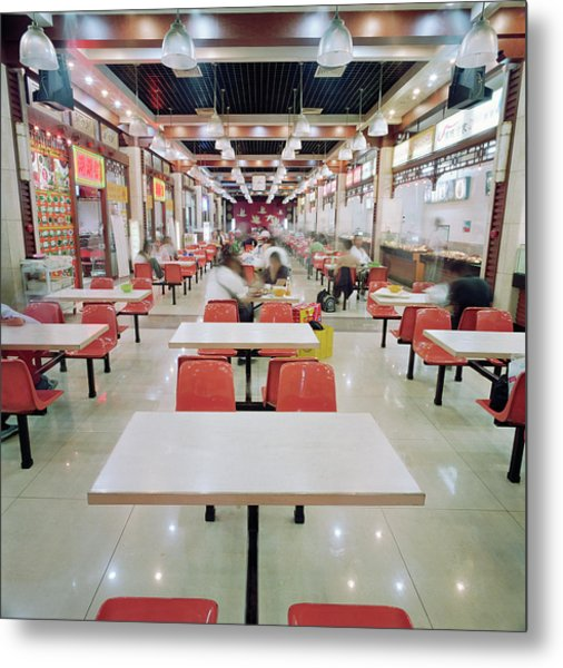 Interior Of Fast Food Restaurant In Metal Print by Martin Puddy