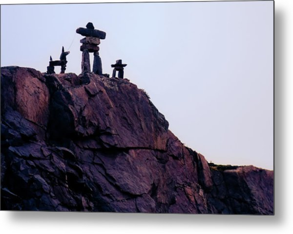 Metal Print featuring the photograph Inukshuk Family In Labrador, Canada by Tatiana Travelways