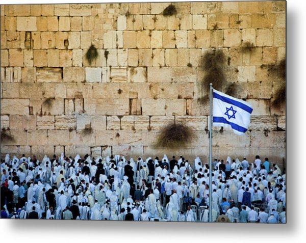 Israeli Flag Flies At The Western Wall Metal Print by Gary S Chapman