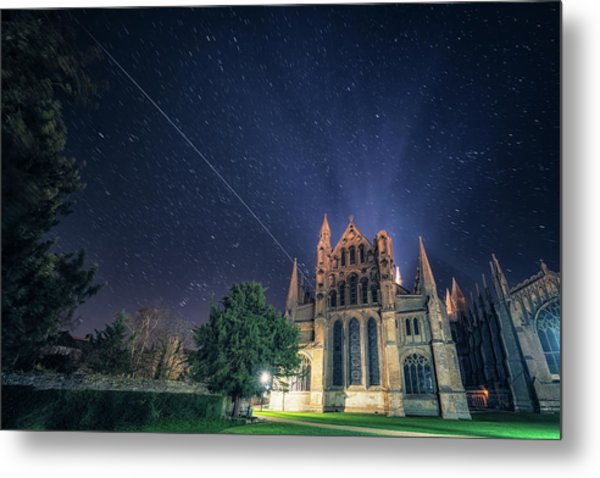 Iss Over Ely Cathedral Metal Print