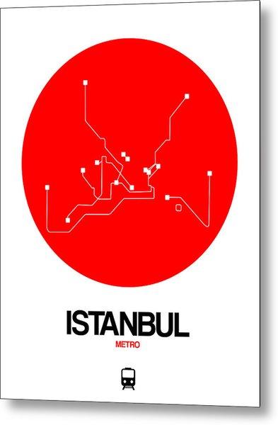 Istanbul Red Subway Map Metal Print