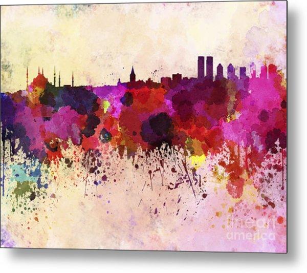 Istanbul Skyline In Watercolor Metal Print