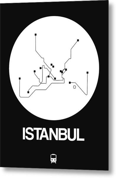Istanbul White Subway Map Metal Print