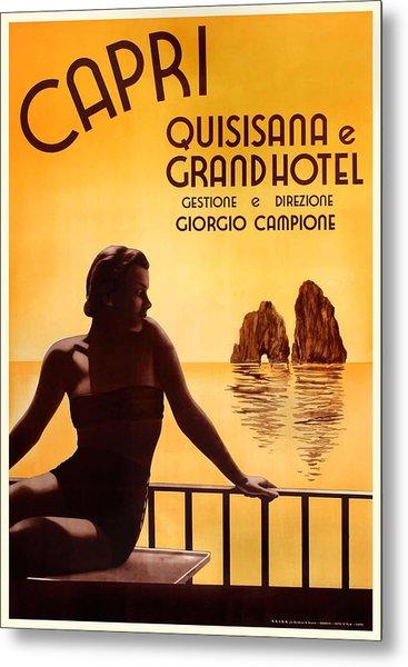 Italy 1938 Capri The Grand Hotel Quisisana Advertising Poster Metal Print