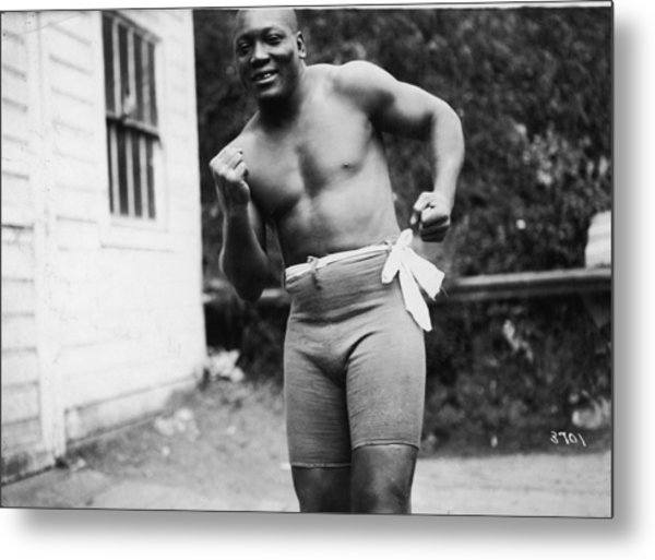 Jack Johnson In Boxing Stance Metal Print