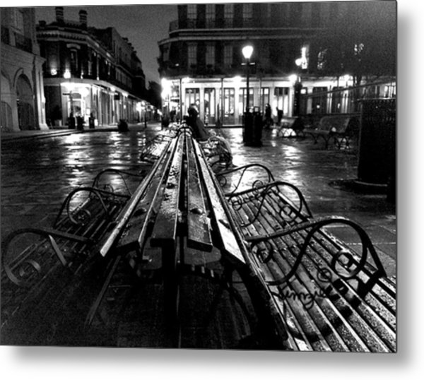 Jackson Square In The Rain Metal Print