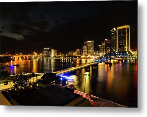 Jacksonville Skyline By Night Metal Print