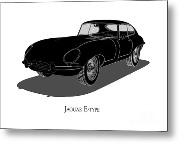 Jaguar E-type - Front View Metal Print
