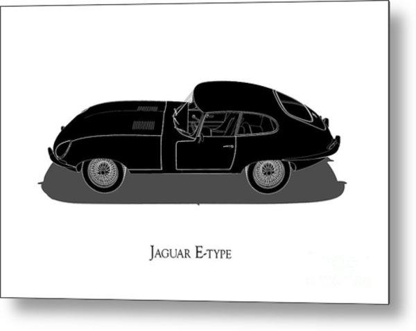 Jaguar E-type - Side View Metal Print