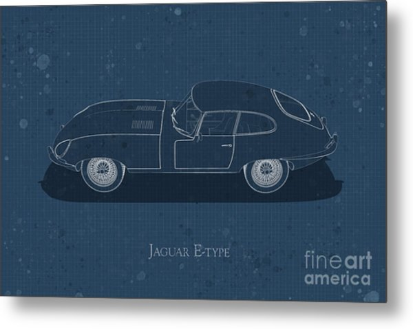 Jaguar E-type - Side View - Stained Blueprint Metal Print
