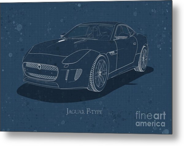 Jaguar F-type - Front View - Stained Blueprint Metal Print