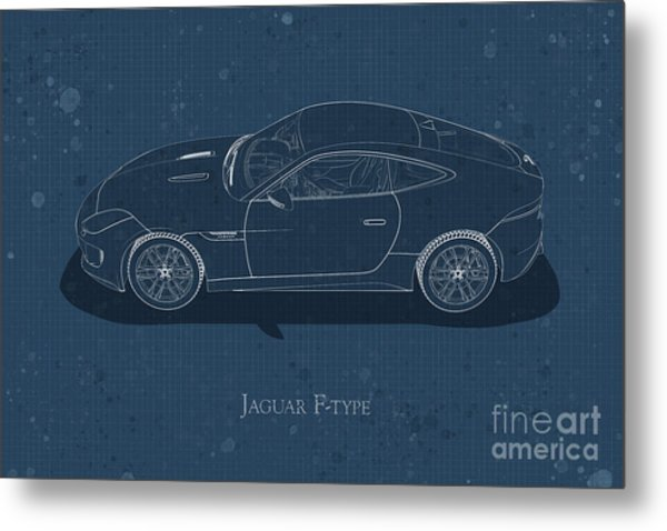 Jaguar F-type - Side View - Stained Blueprint Metal Print