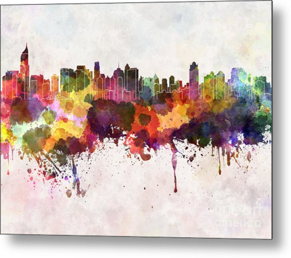 Jakarta Skyline In Watercolor Background Metal Print by Cristina Romero Palma