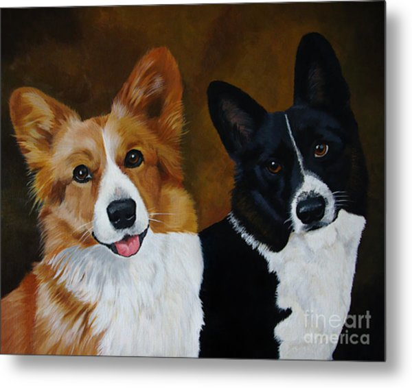 James And Joy Custom Portrait Painting Metal Print