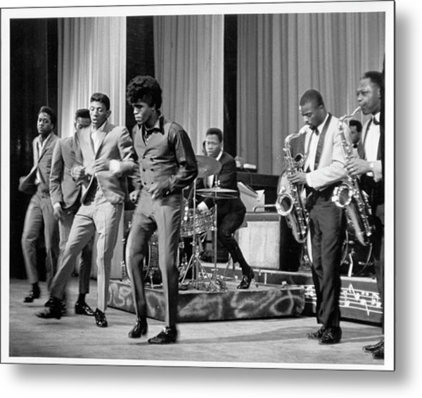 James Brown And Famous Flames At The Metal Print by Michael Ochs Archives