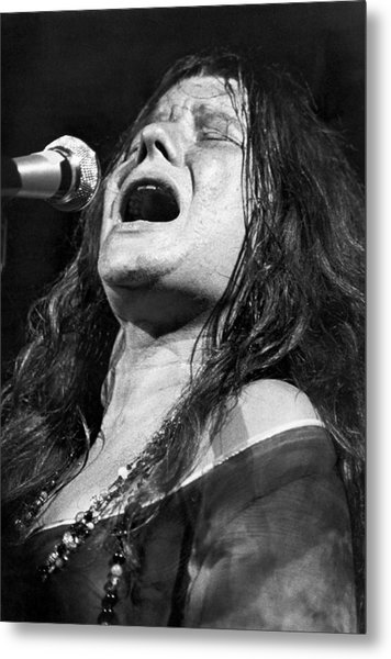 Janis Joplin Singing Metal Print by Bettmann