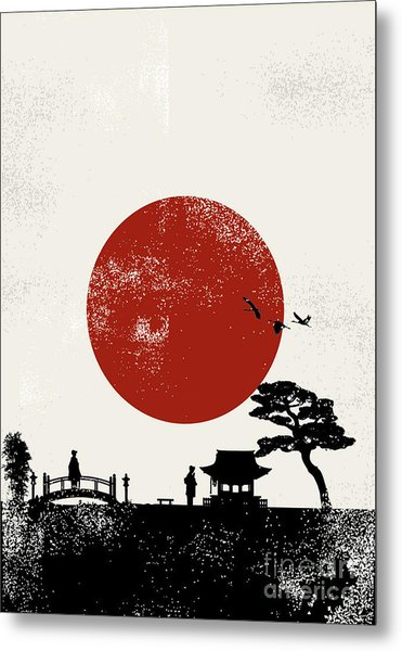 Japan Scenery Poster, Vector Metal Print