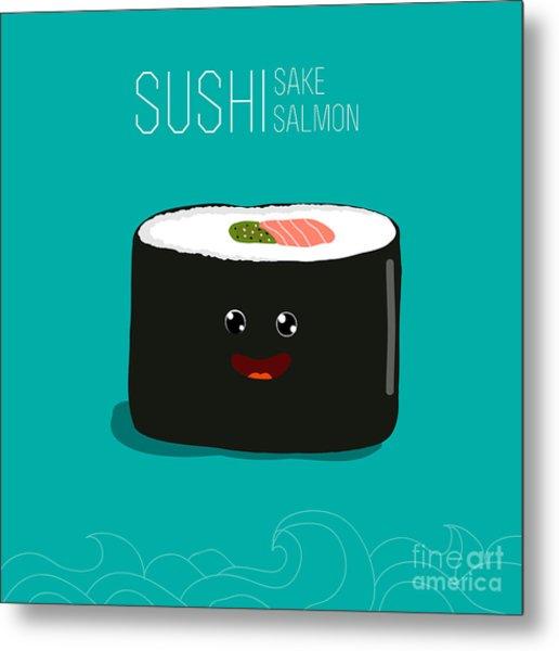 Japanese Food - Sushi. Vector Cartoon Metal Print