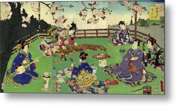 Japanese Triptych Woodblock Cherry Metal Print