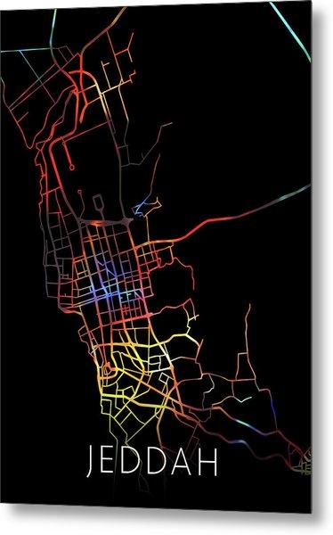 Jeddah Saudi Arabia Watercolor City Street Map Dark Mode Metal Print