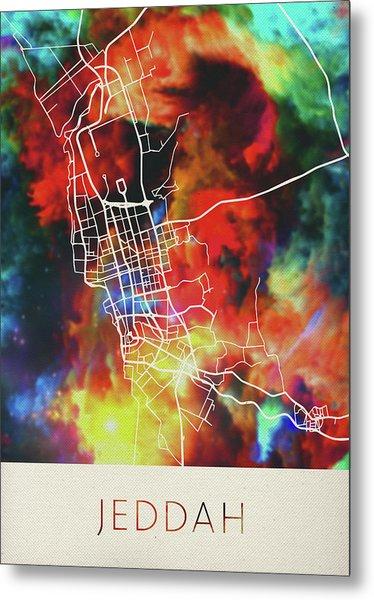 Jeddah Saudi Arabia Watercolor City Street Map Metal Print