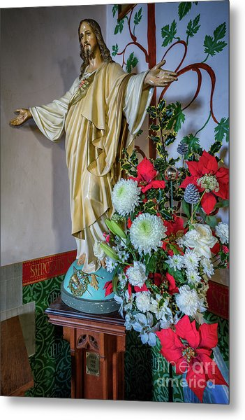Jesus Christ With Flowers Metal Print