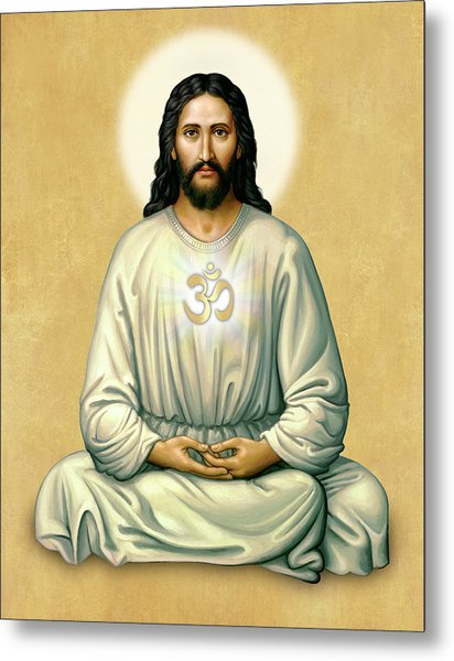 Jesus Meditating - The Christ Of India - On Gold With Om Metal Print