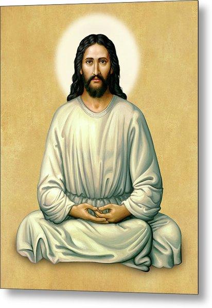 Jesus Meditating - The Christ Of India - On Gold Metal Print