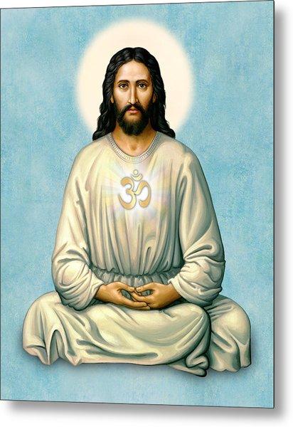 Jesus Meditating With Om On Blue Metal Print